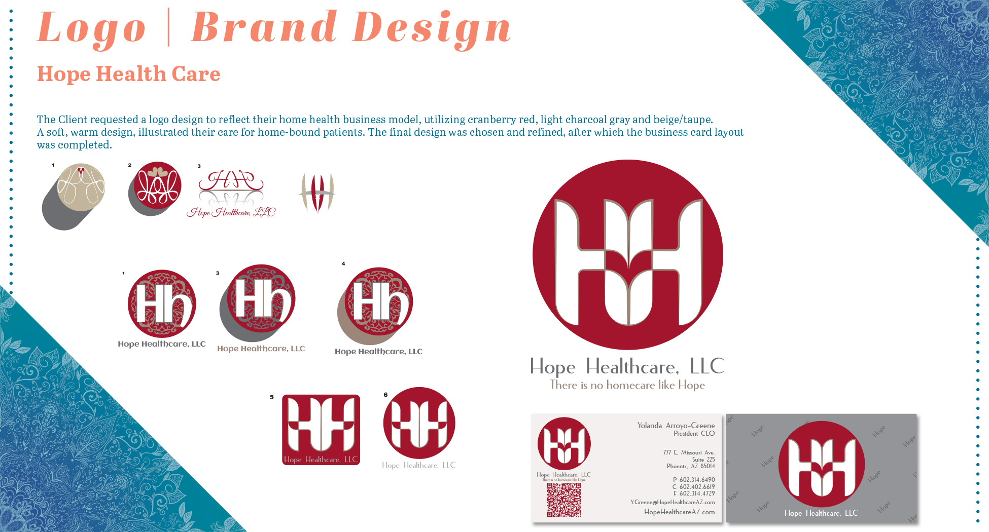 Rachel Camacho-McKee Graphic Design Portfolio Hope Health Logo Design Page