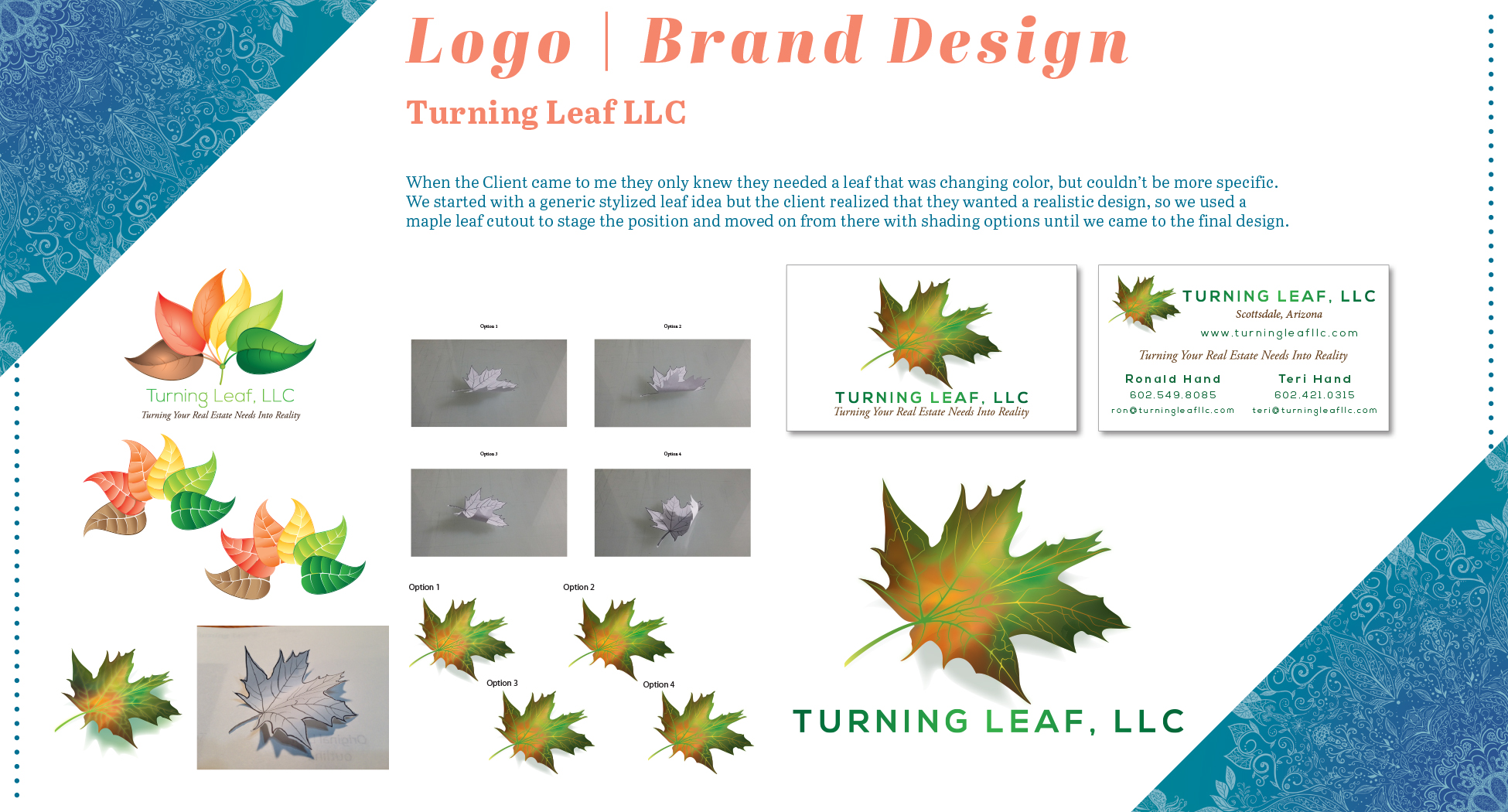 Rachel Camacho-McKee Graphic Design Portfolio Turning Leaf Logo Design Page